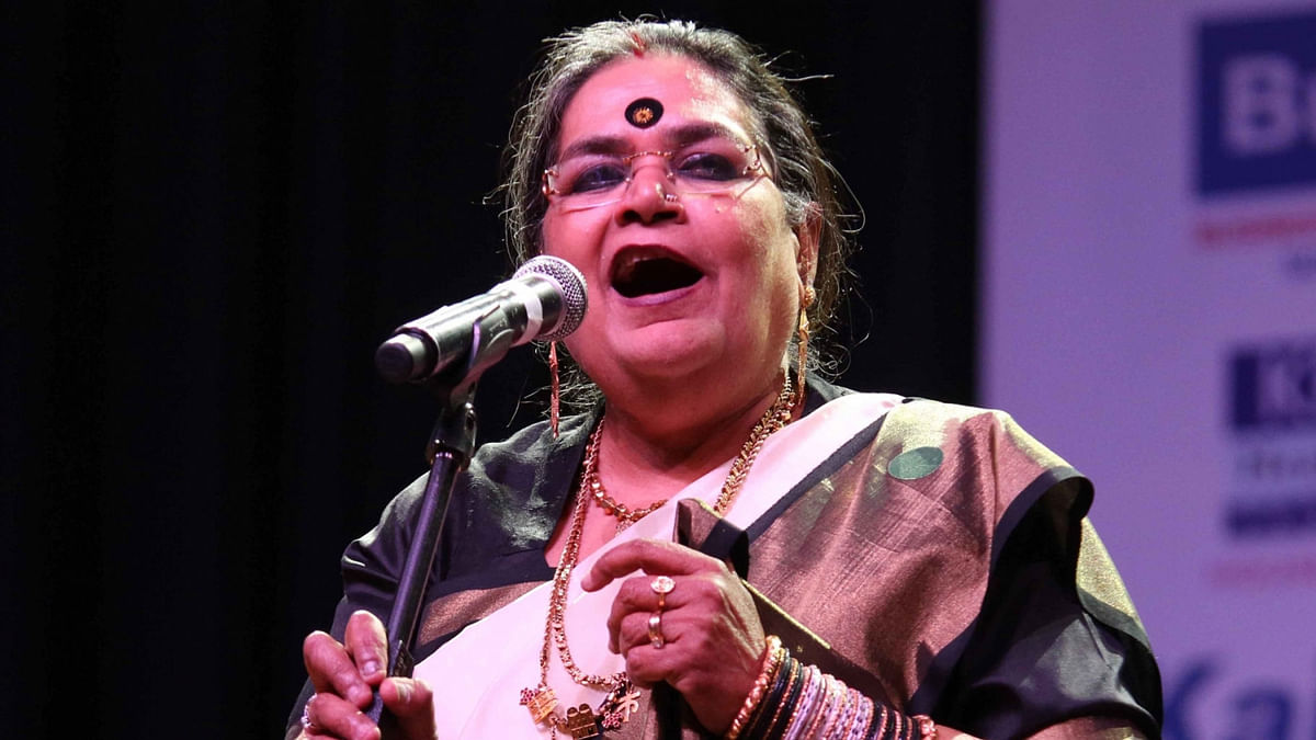 Singer Usha Uthup performs during a programme organised by PHD Chamber at Siri Fort Auditorium in New Delhi.
