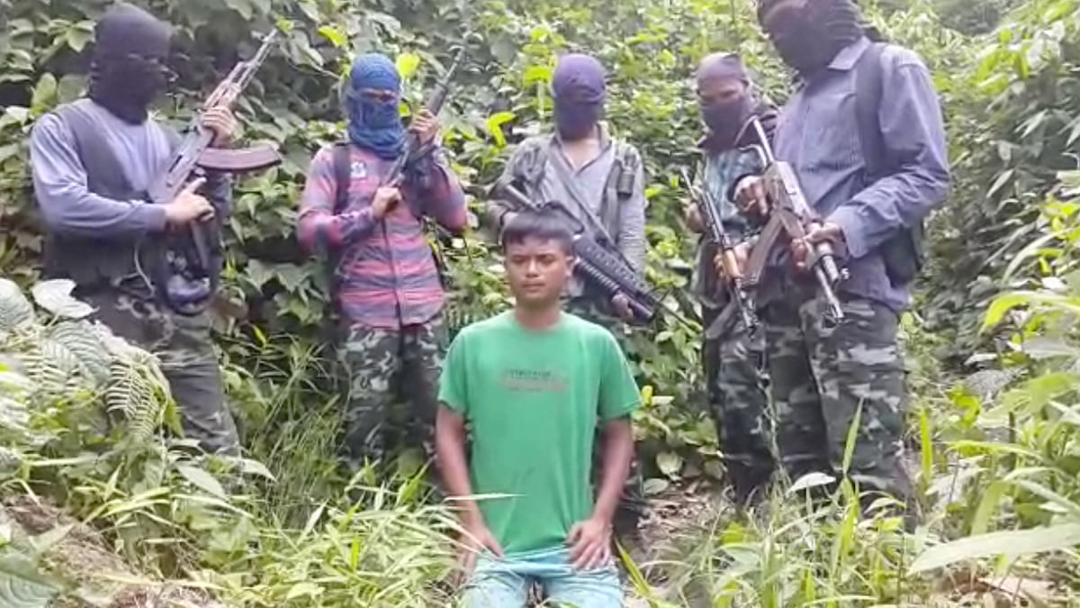 A screenshot of the video shared by suspected ULFA militants. (Photo Courtesy: Anjana Dutta)