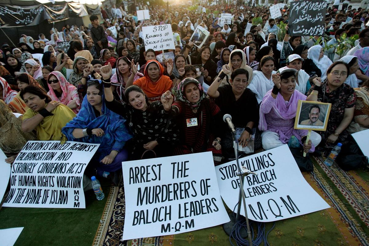 Baloch women supporters of the Muttahida Qaumi Movement (MQM) gather in Karachi to protest the killing of political activists in Balochistan. (Photo: Reuters)