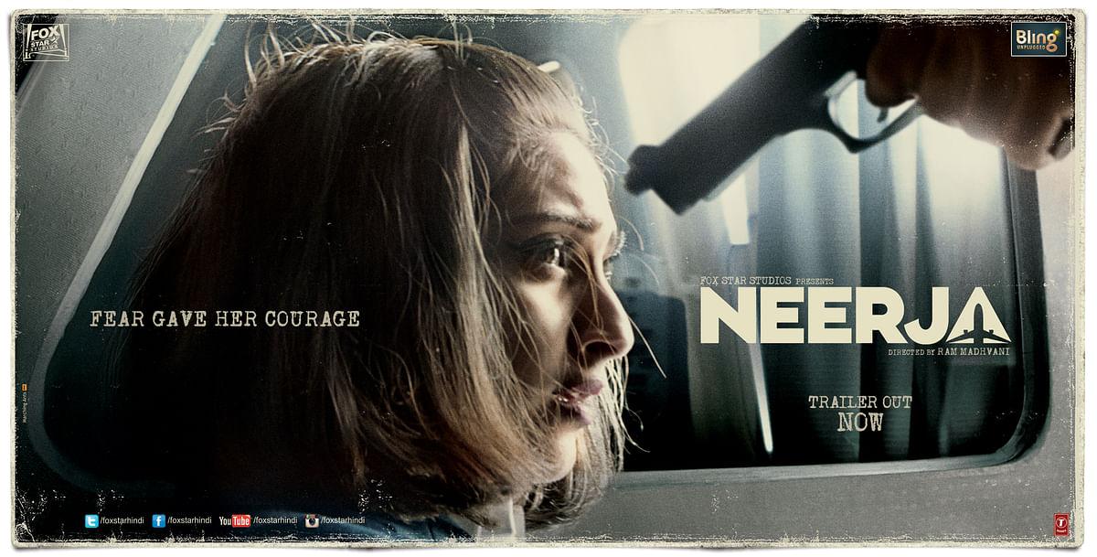 Sonam Kapoor on the poster of&nbsp;<i>Neerja </i>produced by Fox Star Studios.