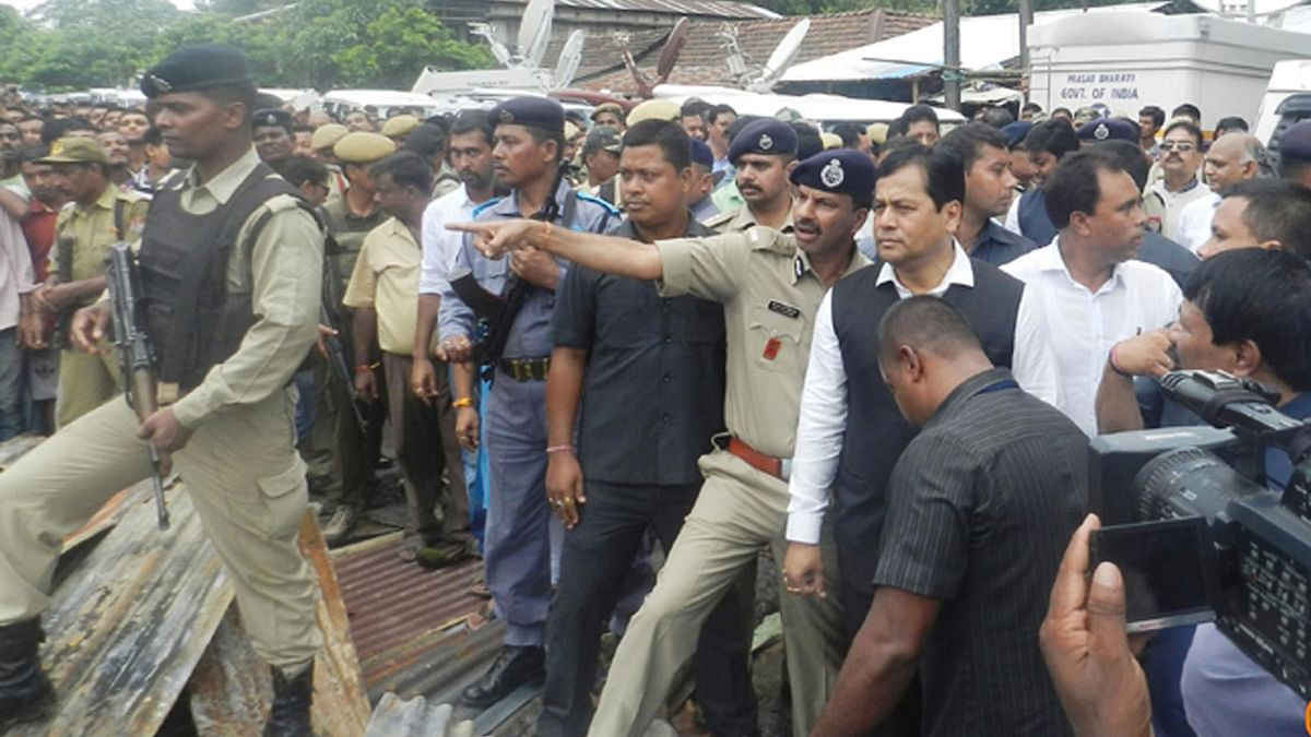 Assam Chief Minister Sarbananda Sonowal visits the site of Kokrajhar shooting on Sunday, 7 August 2016. (Photo: IANS)