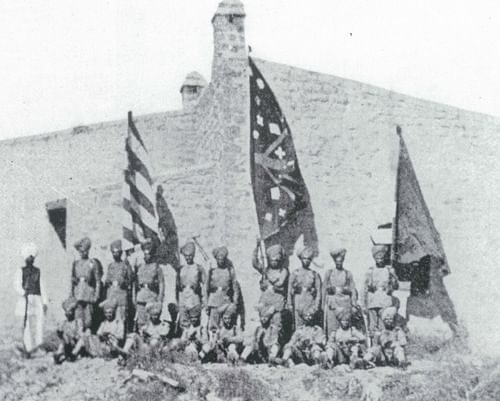 Photographed by Lt. Col Haughton survivors of the Gulistan troops with captured Afridi tribesmen.