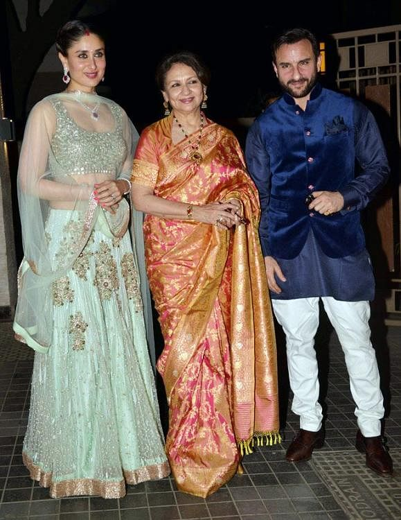 """Saif with mother Sharmila andd wife Kareena. (Photo courtesy: <a href=""""https://twitter.com/search?f=images&amp;vertical=default&amp;q=saif%20sharmila&amp;src=typd"""">Twiter/ @iammanju17</a>)"""