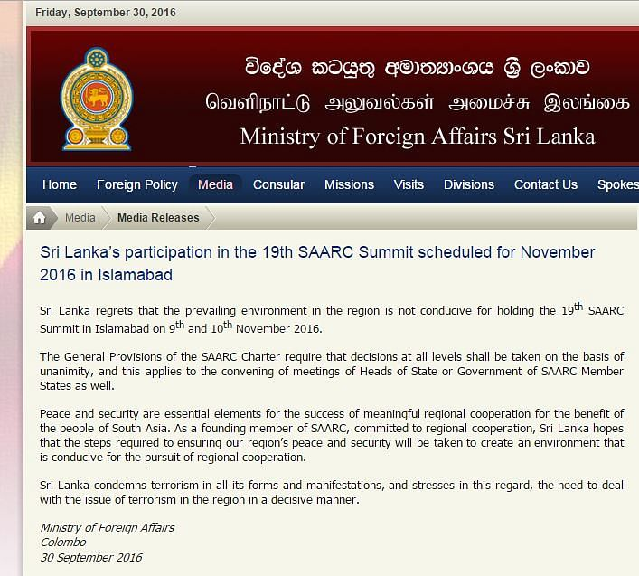 """(Photo Courtesy: Screenshot of the <a href=""""http://www.mfa.gov.lk/index.php/en/media/media-releases/6614-19saarc"""">statement</a>)"""