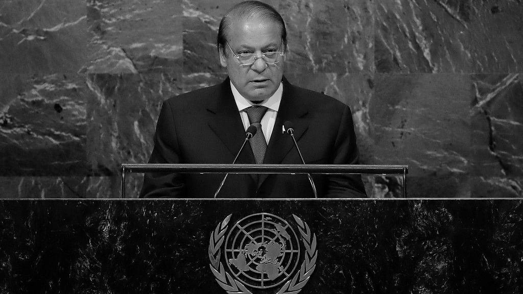 Pakistani Prime Minister Nawaz Sharif at the United Nations General Assembly (UNGA). (Photo Courtesy: PTI)