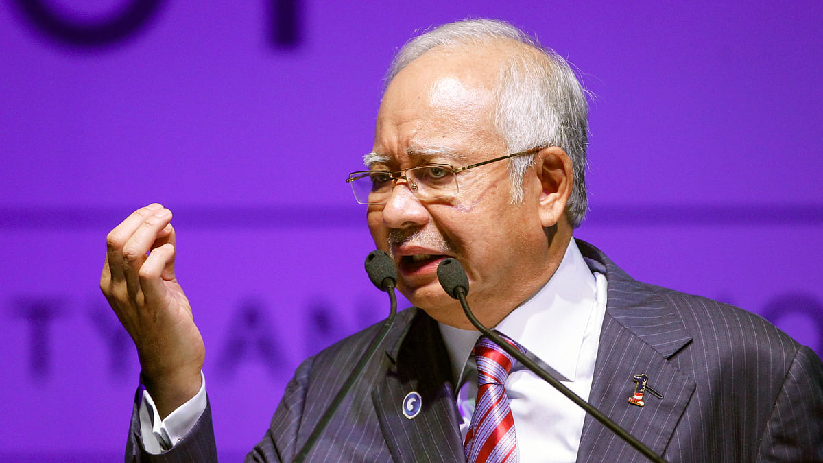 Malaysia's Prime Minister Najib Razak speaks during National Blue Ocean Strategy conference in Putrajaya, Malaysia. (Photo: AP)