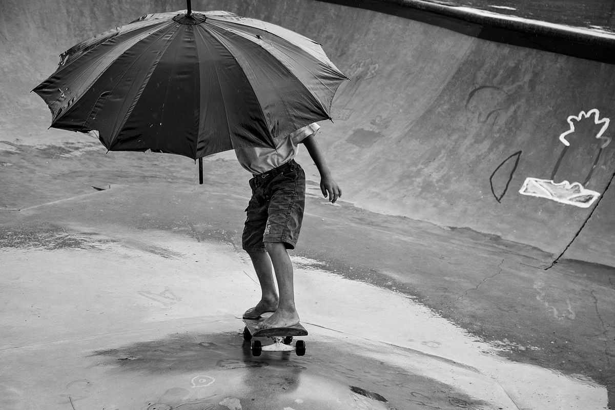 Children get an Adrenalin rush when skateboarding and then things like rains and sun cease to become obstacles. (Photo Courtesy: Vicky Roy)