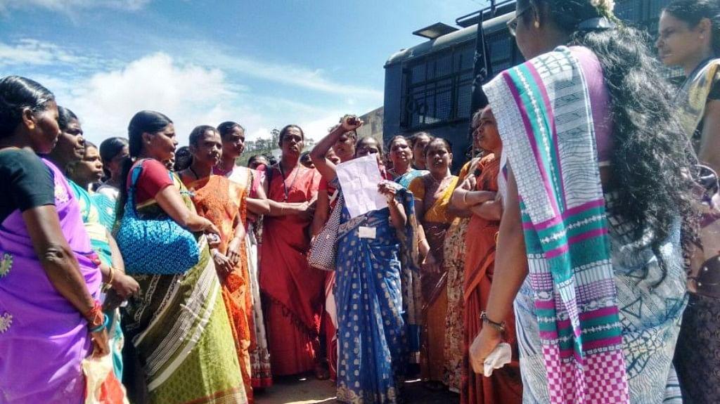 A women's union strike. (Photo Courtesy:<i> The News Minute</i>)