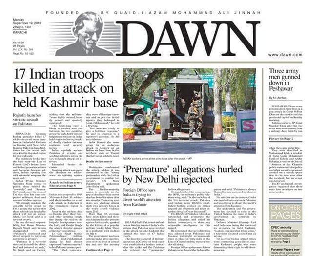 (Photo: Screenshot of Dawn's e-paper)