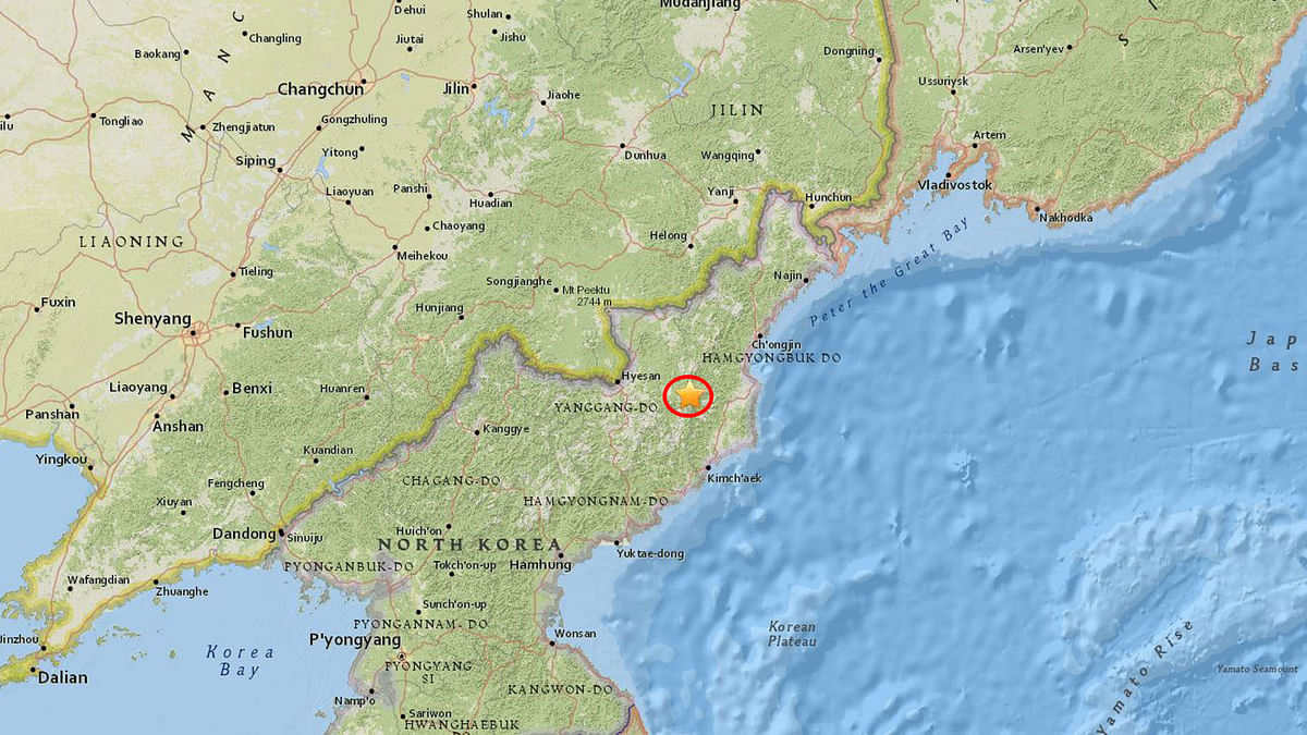 "Its epicenter was 18 km east-northeast of Sungjibaegam, North Korea. (Photo Courtesy: <a href=""https://www.usgs.gov/"">USGS</a>)"