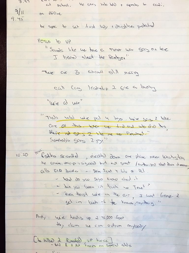 A look at the Fleischer's notes when President Bush was told that America was officially under attack. (Photo: Reuters)