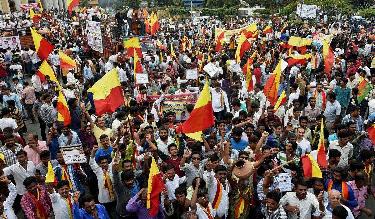 Pro Kannada organisation activists shot slogans during the statewide bandh. (Photo: PTI)