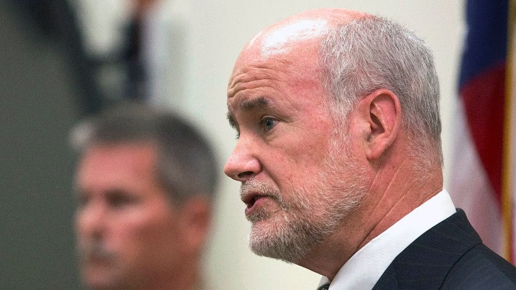 Yuba County District Attorney Patrick McGrath announces  the arrests  at a news conference on  13 September. (Photo: AP)