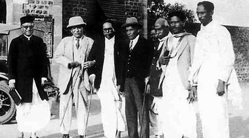 Dr Ambedkar with others during the signing of the Poona Pact. (Photo Courtesy: Wikimedia Commons)