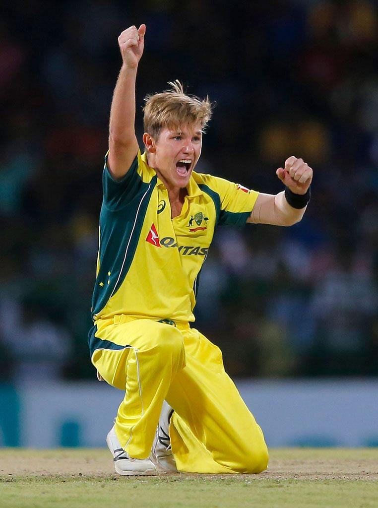 Australian leg spinner Adam Zampa celebrates after taking a wicket against Sri Lanka in 2nd T20. (Photo: AP)