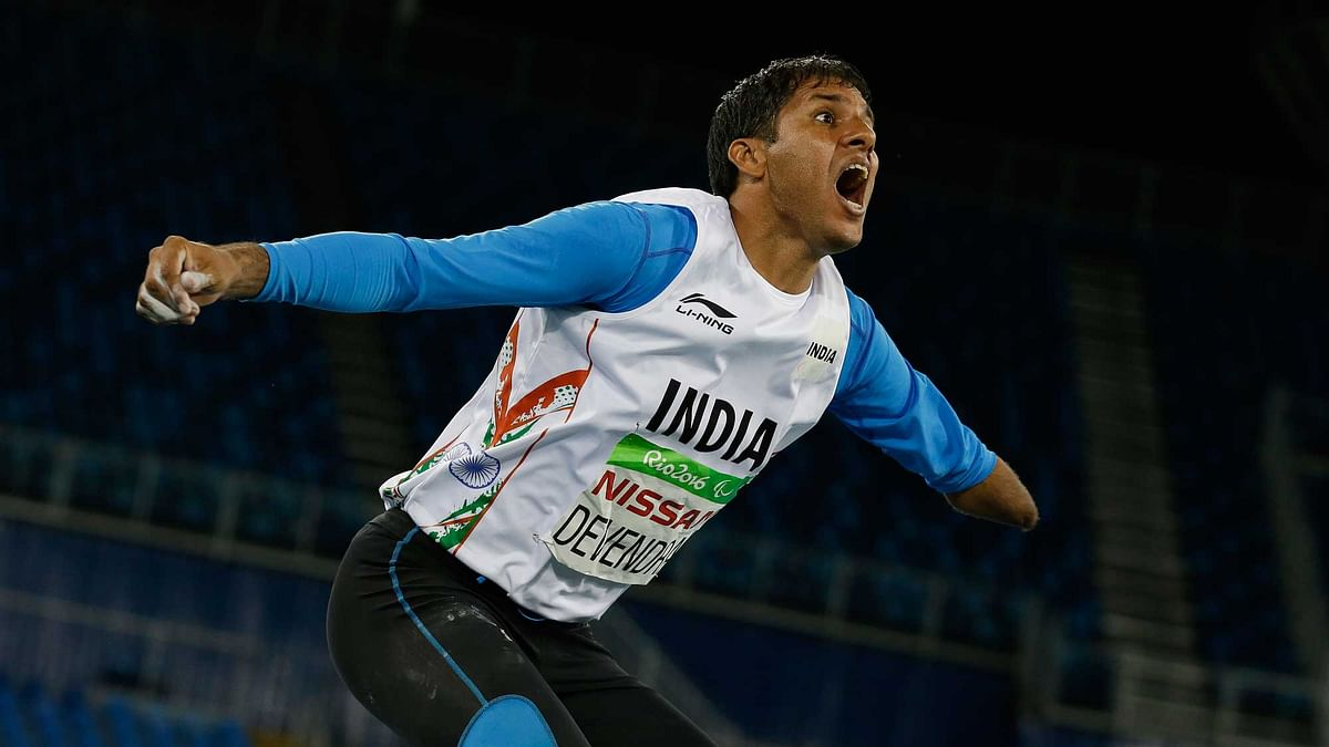 India's Devendra Jhajharia reacts after his last throw in the men's javelin throw F46 final of the Paralympic Games. (Photo: AP)