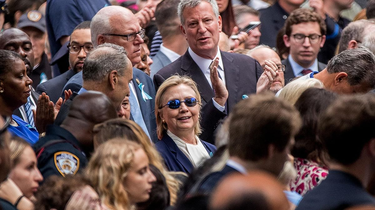 Democratic presidential candidate Hillary Clinton attending a September 11 memorial, in New York, Sunday. (Photo: AP)
