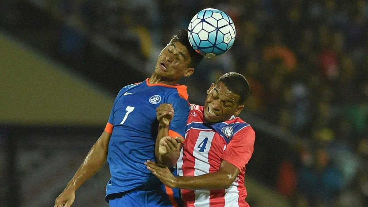 Mumbai: Players in action during a friendly football match between India and Puerto Rico in Mumbai on Saturday. (Photo: PTI)
