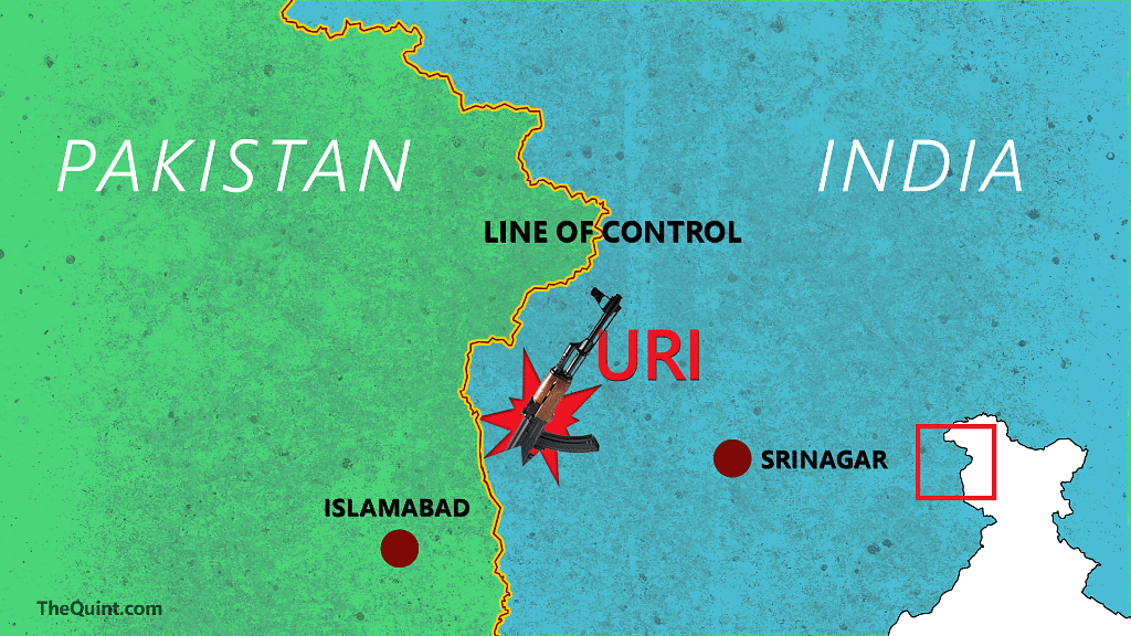A map of the Uri camp which was attacked by JeM militants on 18 September. (Photo: Aaqib Raza Khan/<b>The Quint</b>)