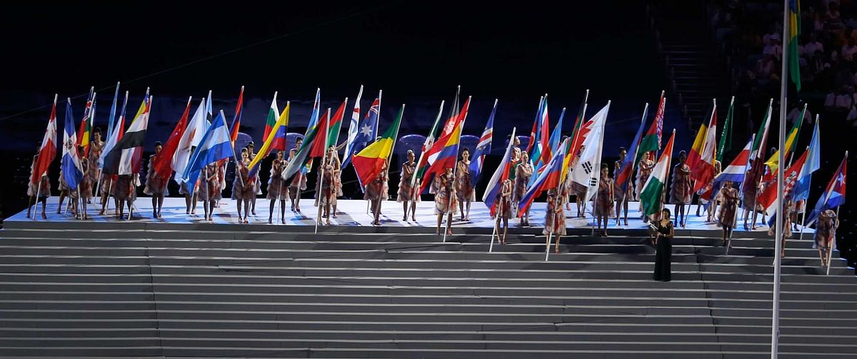 The flags of the participating countries stand together on a podium during the opening ceremony of the Rio 2016 Paralympic games. (Photo: AP)
