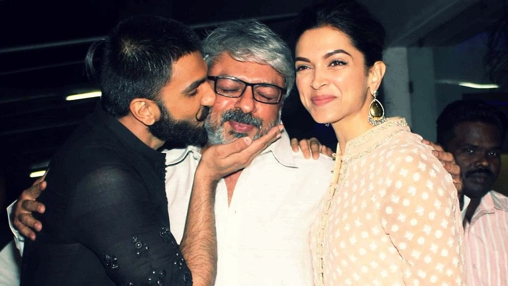 Ranveer Singh, Sanjay Leela Bhansali and Deepika Padukone at a promotional event for <i>Bajirao Mastani.</i> (Photo: Yogen Shah)
