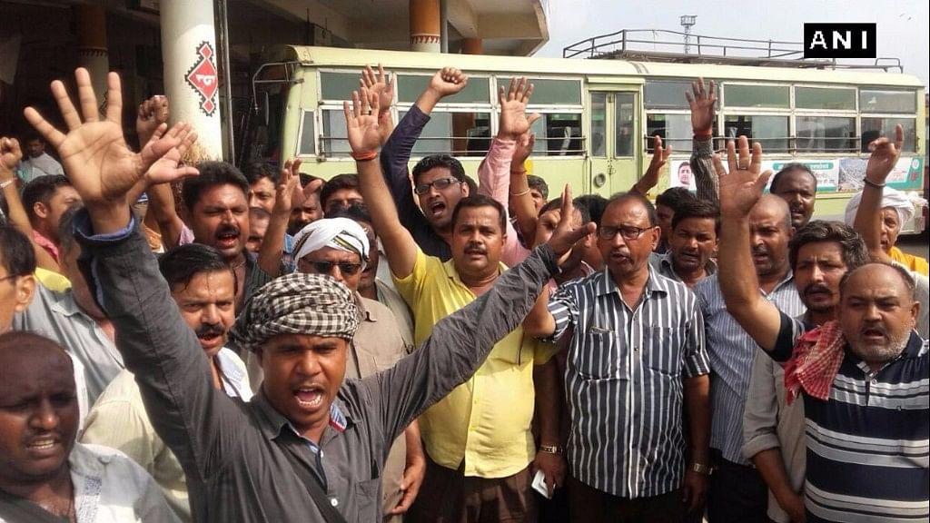 UP roadways employees' strike in Varanasi. (Photo: ANI)