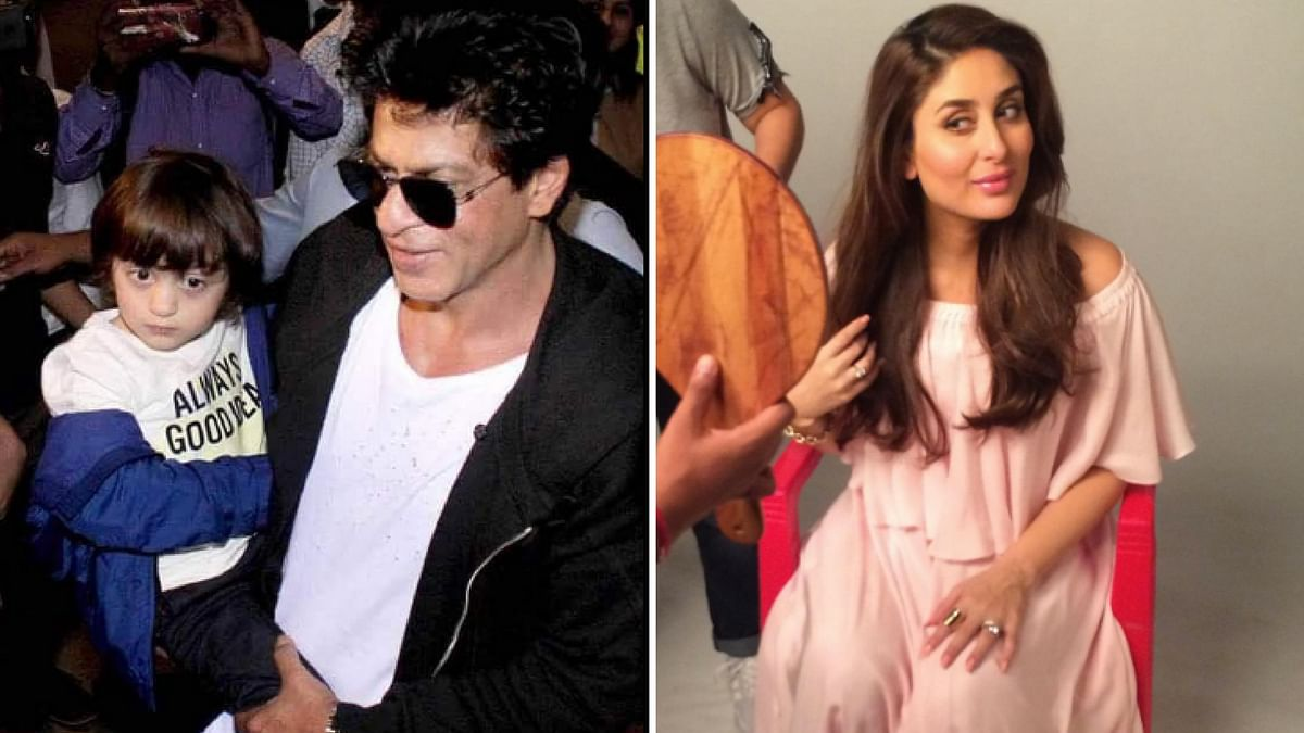 """SRK- AbRam bond over Spiderman while Bebo will continue to work post pregnancy. (Photo Courtesy: Twitter/<a href=""""https://twitter.com/Fizaqureshi10"""">@Fizaqureshi10</a>/<a href=""""https://twitter.com/KareenaOnline"""">KareenaOnline</a>)"""