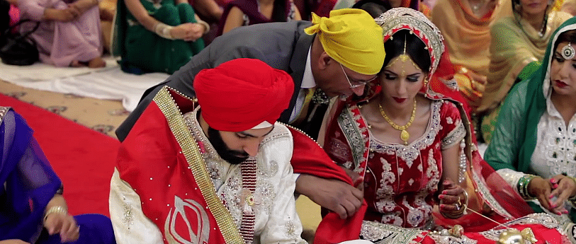 A Sikh couple getting married in the UK. (Photo Courtesy: YouTube screengrab)