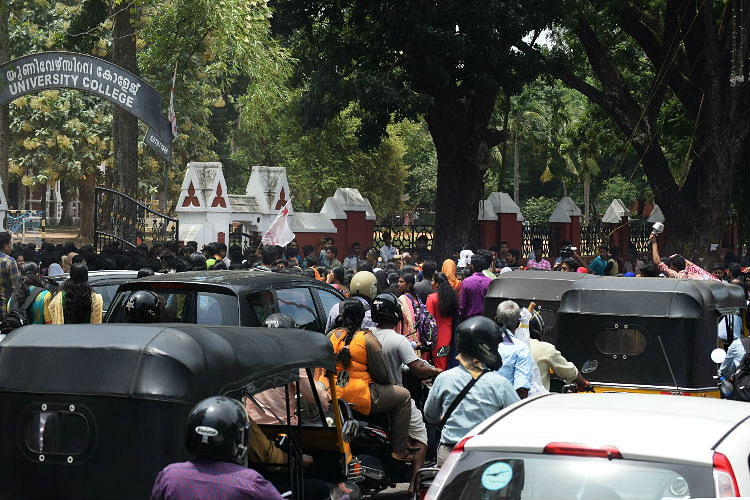 A lot of ruckus was created by the students leading to traffic jams. (Photo Courtesy: The News Minute)
