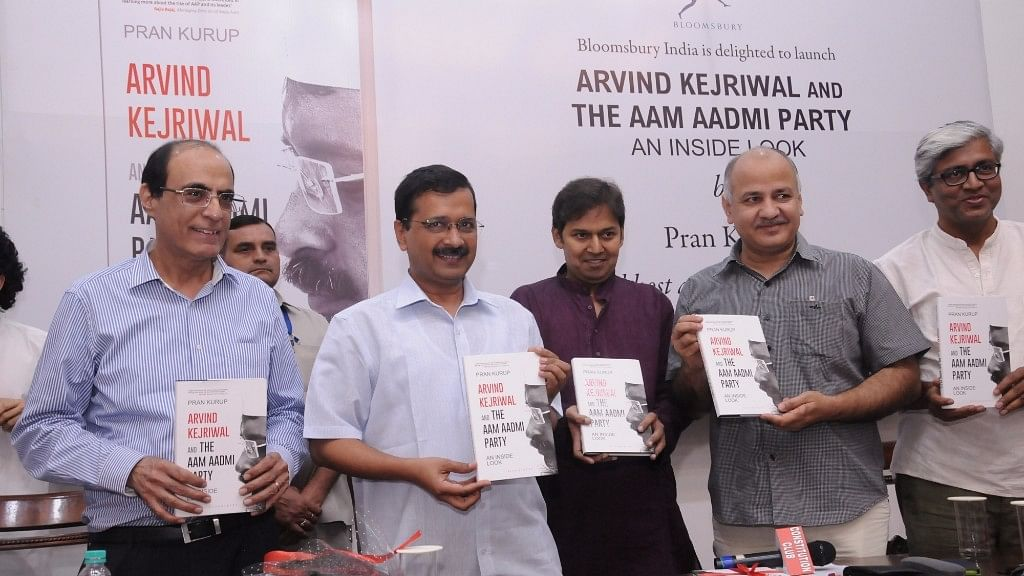 Delhi Chief Minister Arvind Kejriwal and Deputy Chief Minister Manish Sisodia during the release of <i>Arvind Kejriwal and The Aam Admi Party: An Inside Look</i> written by Pran Kurup, in New Delhi,  19 July, 2016.  (Photo:IANS)