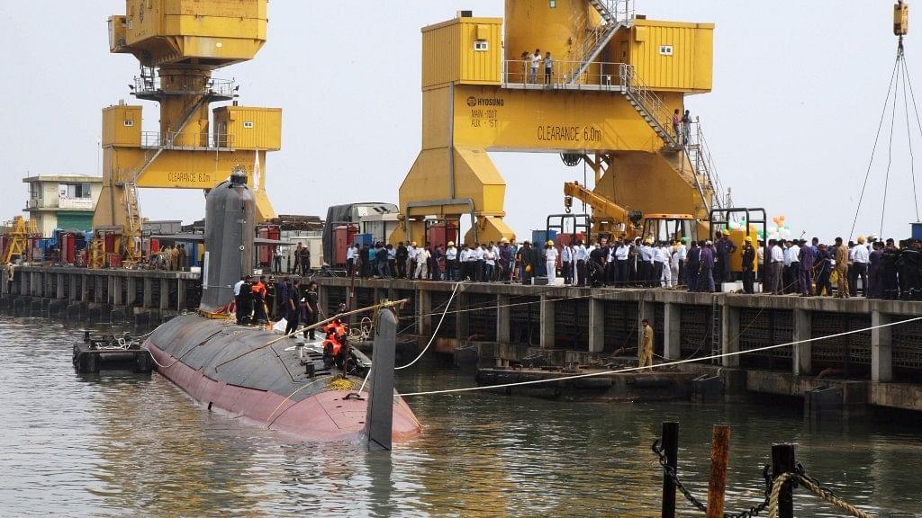 A view of INS Kalvari, the first of six Scorpene diesel-electric attack submarines  that began its sea trials at Mazagon Dockyard Ltd   in Mumbai  29 October, 2015. (Photo: IANS)