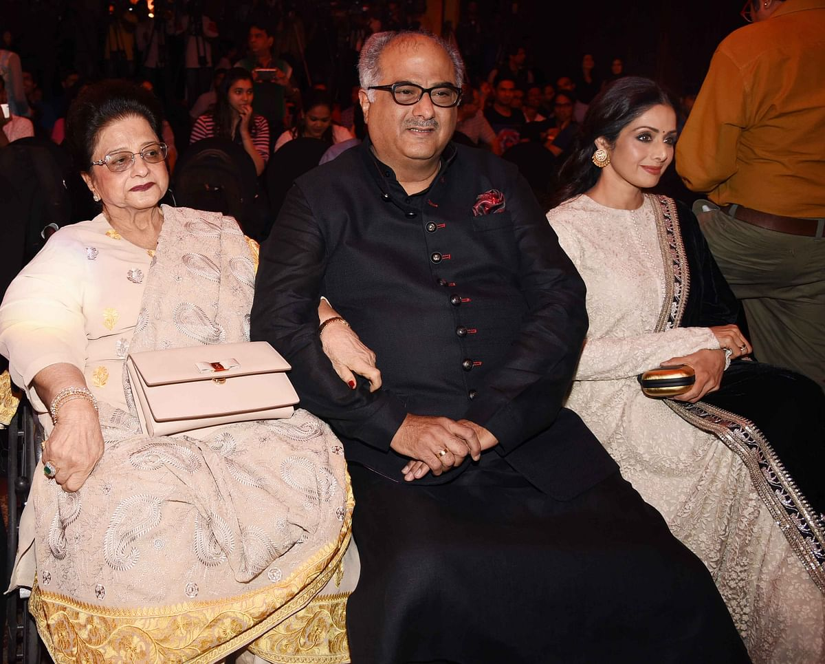 Boney Kapoor with mother Nirmal Kapoor and wife Sridevi took the front seat at the <i>Mirzya</i> music launch. (Photo: Yogen Shah)