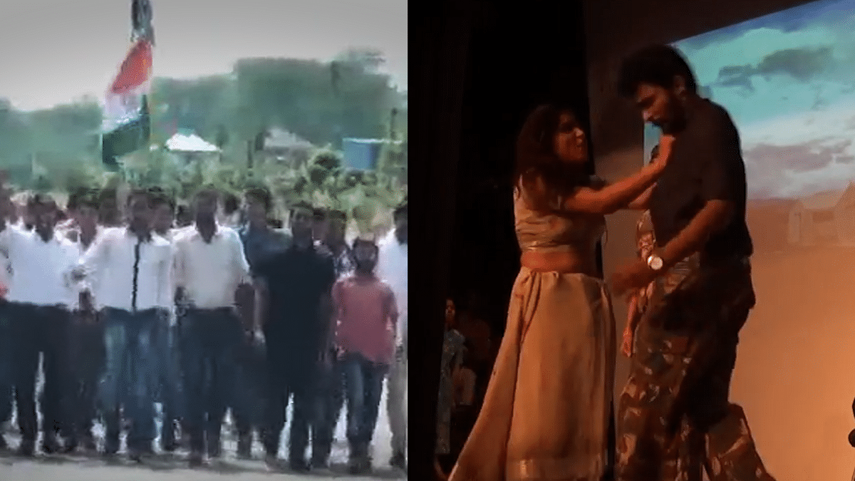 The play 'Draupadi' (right) and the ensuing protests at Central University of Haryana at Mahendragarh, Haryana (left). (Photo altered by<b> The Quint)</b>