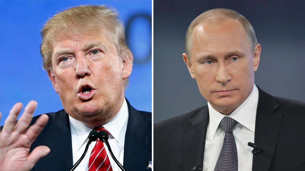 Donald Trump (L) and Vladimir Putin.