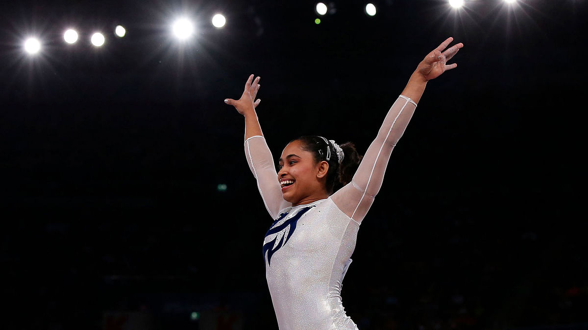 Simone Biles, the American who won the gold medal in the Women's vault at Rio has said that 'Produnova Vault' should be renamed as the 'Karmakar Vault'.(Photo: Reuters)