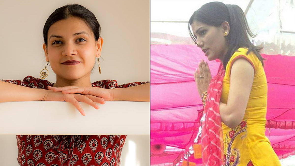 National Chess champion Anuradha Beniwal has spoken out in favour of Sapna Chaudhary, a Ragini dancer who has been threatened with rape. (Photo: Altered by <b>The Quint</b>)