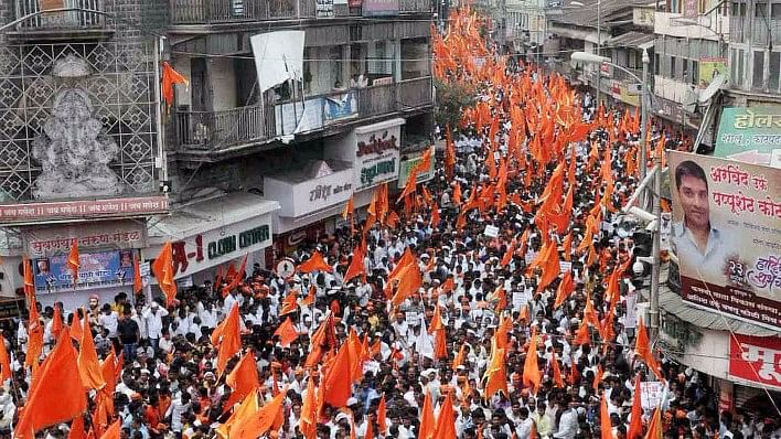 One of the many protest marches carried out by The Marathas while demanding reservation.