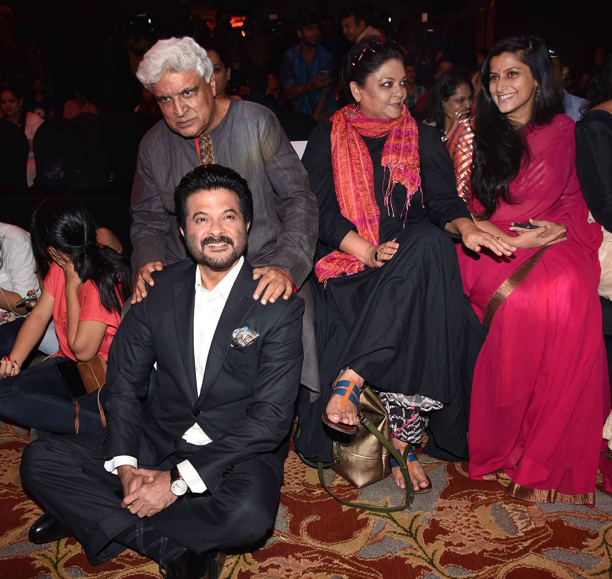 Saiyami Kher, the film's lead actress is Tanvi Azmi niece. Javed Akhtar posed for a picture with the proud Anil Kapoor. (Photo: Yogen Shah)