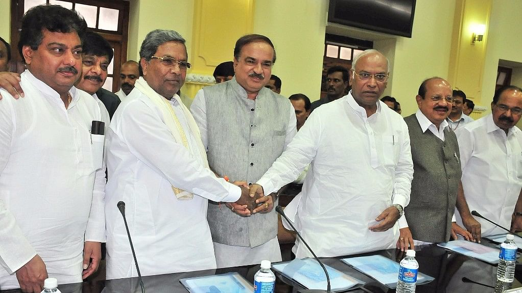 CM Siddaramaiah at the all-party meeting he convened in the wake of recent protests in Karnataka involving the Cauvery issue. (Photo: IANS)