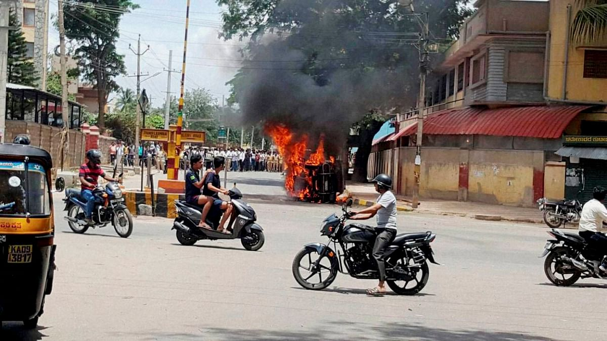 Violent protests broke out in Bengaluru on Monday. (Photo: The News Minute)