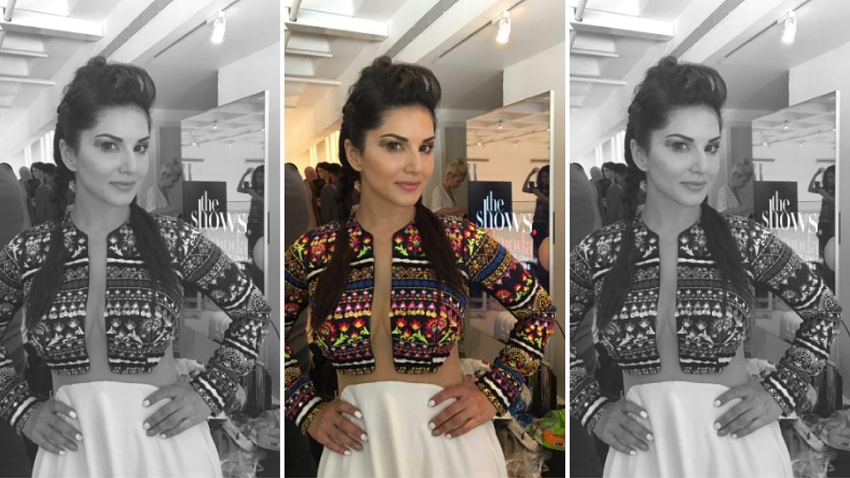 "Sunny Leone walks for New York Fashion Week. (Photo Courtesy: <a href=""https://twitter.com/DanielWeber99"">Twitter/@DanielWeber99</a>)"