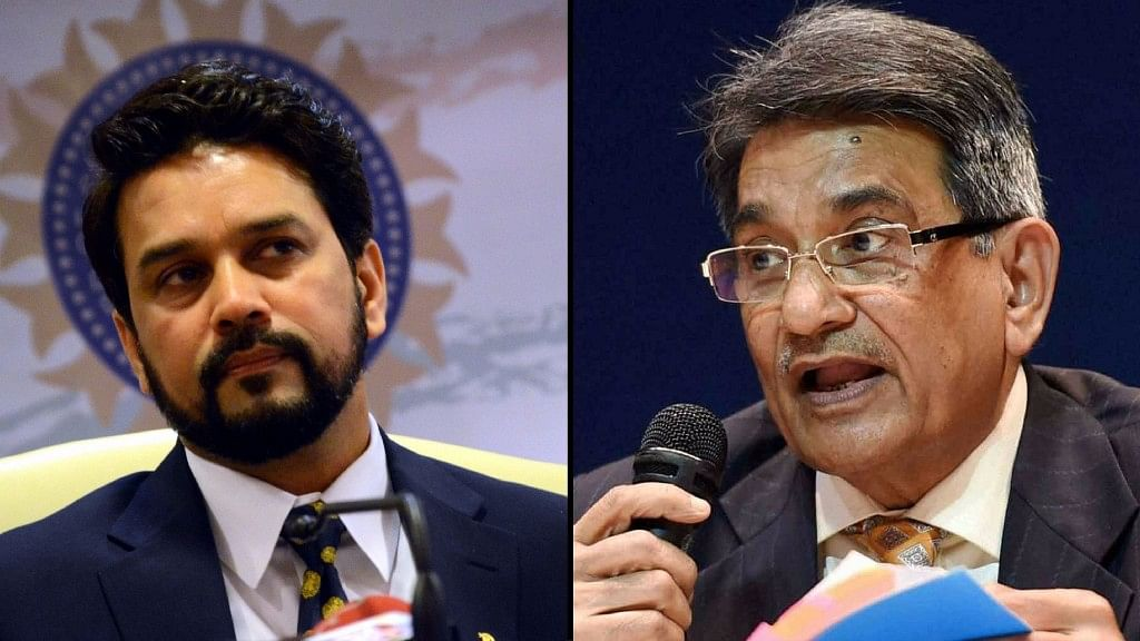 Anurag Thakur (L) and Justice RM Lodha (R). (Photo: Altered by <b>The Quint)</b>