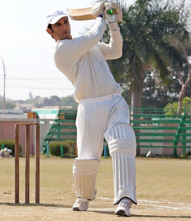 Sushant strikes gold with his bat. (Photo Courtesy: Fox Star Studios)