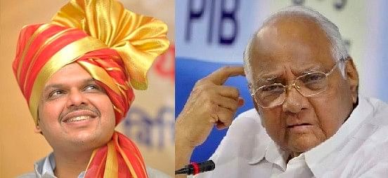 Maharashtra CM Devendra Fadnavis and NCP Chief Sharad Pawar. (Images altered by <b>The Quint</b>)