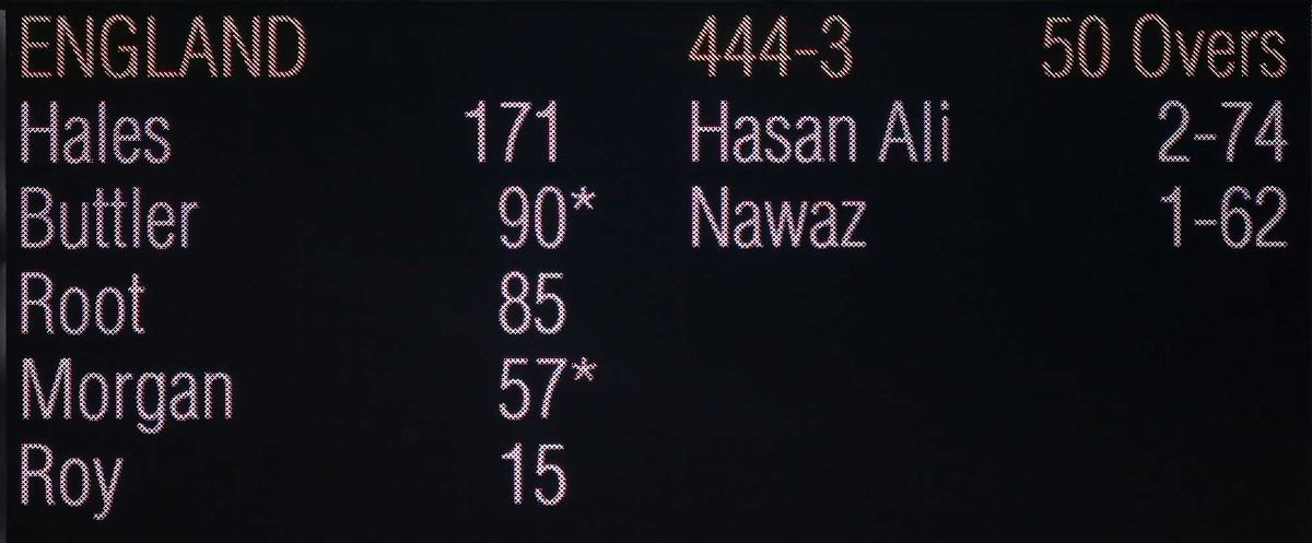 General view of the scoreboard displaying England's record ODI batting score after the game against Pakistan. (Photo: Reuters)