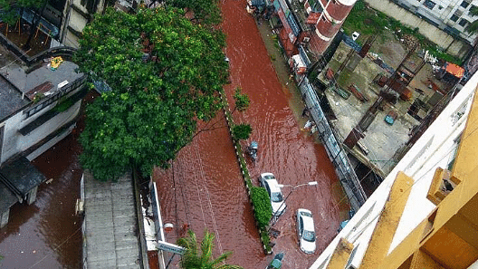 "Red rivers flowing through Dhaka. (Photo Courtesy: Twitter/<a href=""https://twitter.com/ReesEdward/status/775589426449620992"">Edward Rees</a>)"