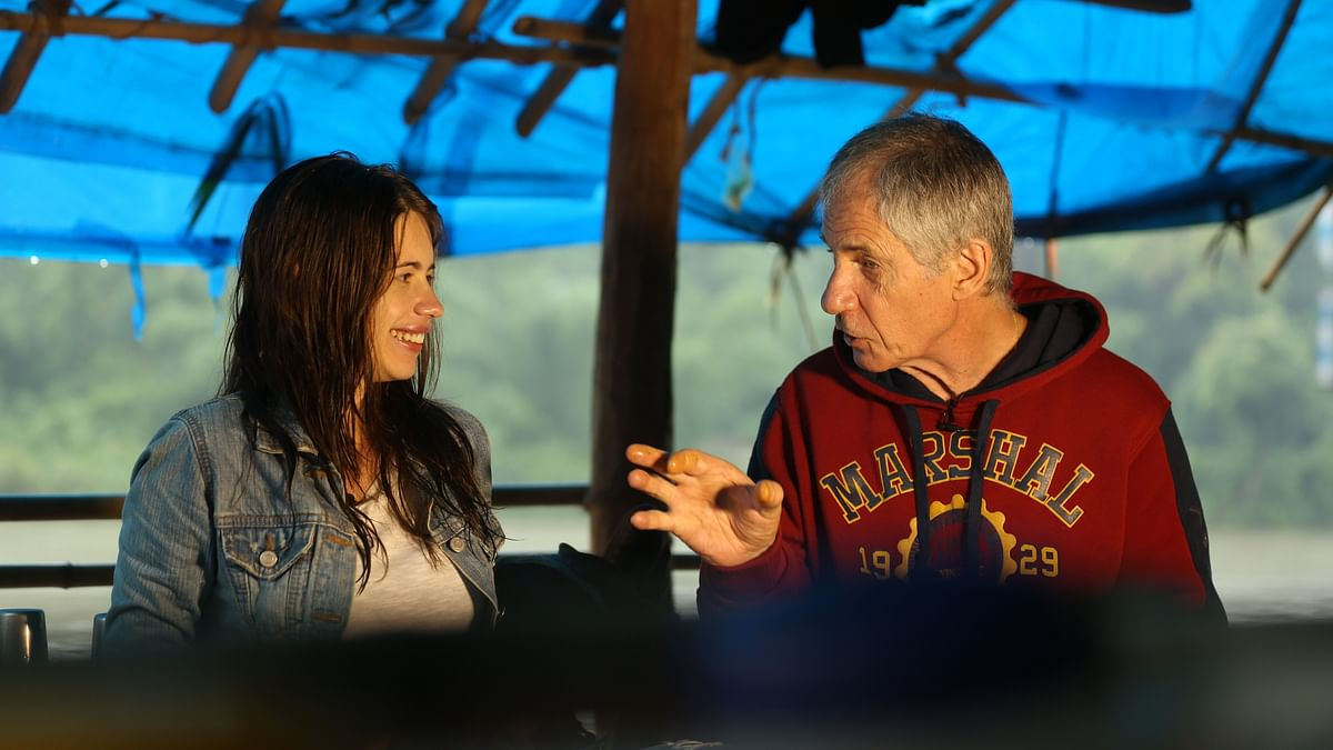 Kalki Koechlin and her father Joel in  a still from the show, Kalki's Great Escape. (Photo Courtesy: Fox Life)