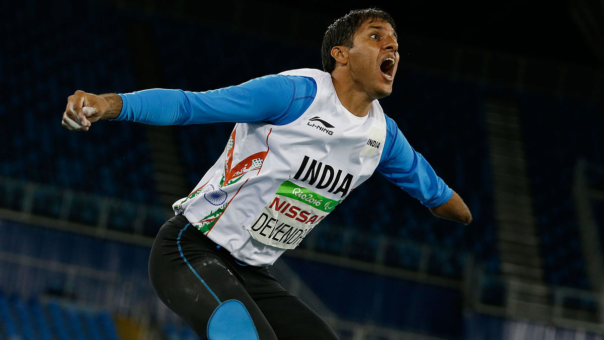 India's Devendra Jhajharia reacts after his last throw in the men's javelin throw F46 final of the Paralympic Games in Rio de Janeiro. (Photo: AP)