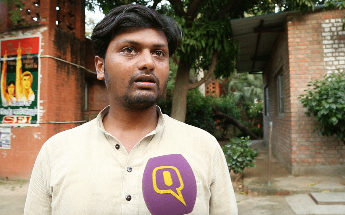 Saurabh Sharma was at the forefront in ABVP's rally against alleged anti-national activities on the JNU campus. (Photo: <b>The Quint</b>)&nbsp;
