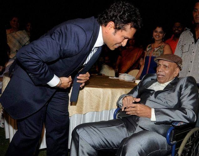 Sachin Tendulkar has always expressed his gratitude to his childhood coach Ramakant Achrekar. (Photo Courtesy: PTI)